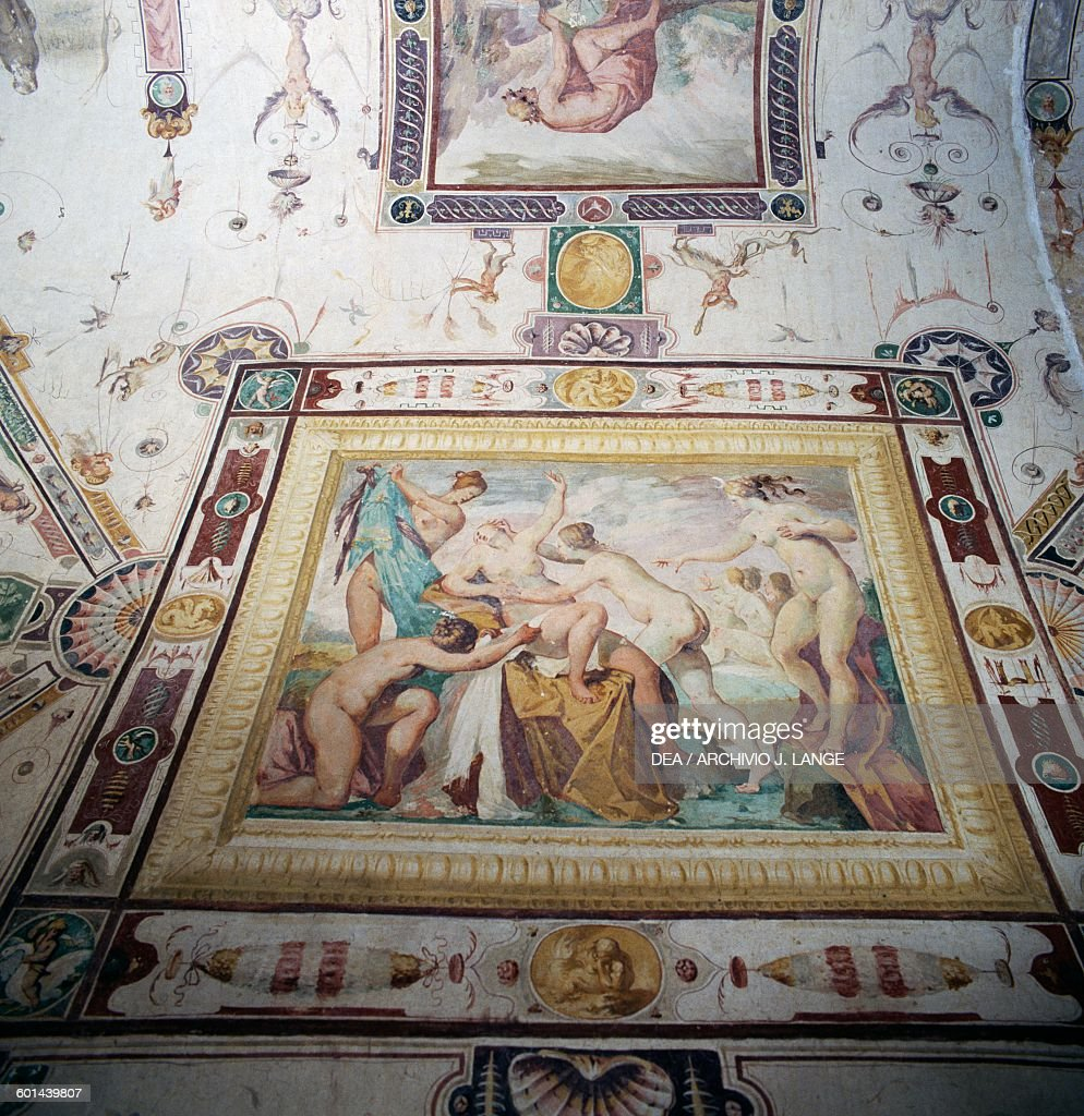 Diana and Callisto fresco in the Hall of the World upside down 15741590 Della Corgna palace or Ducal palace Castiglione del Lago Umbria Italy 16th...