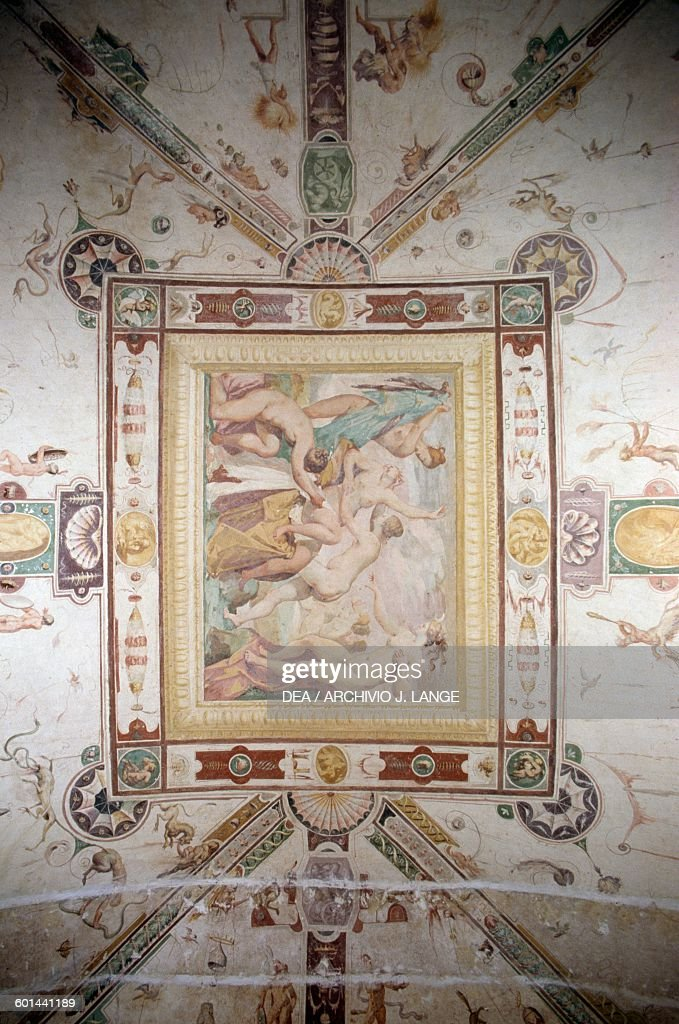 Diana and Callisto frescoes in the Hall of the World upside down 15741590 Della Corgna Palace or Ducal palace Castiglione del Lago Umbria Italy 16th...