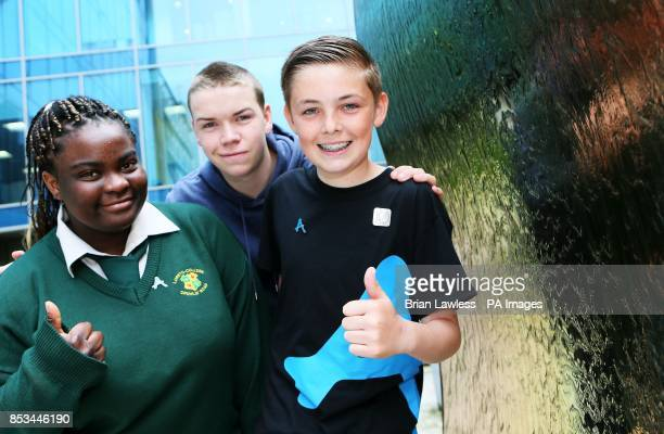 Diana AntiBullying Award Ambassador actor Will Poulter with Dylan Stewart 13 a pupil at NewBridge Integrated College Co Down who received a Diana...