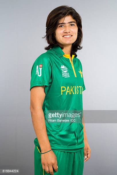 Diana Baig during the photocall of the Pakistan team ahead of the Women's ICC World Twenty20 India 2016 on March 13 2016 in Chennai India