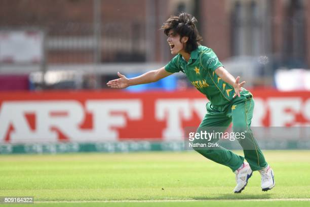 Diana Baig of Pakistan appeals during the ICC Women's World Cup 2017 match between Pakistan and Australia at Grace Road on July 5 2017 in Leicester...