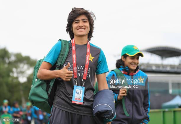 Diana Baig of Pakistan arrives ahead of the ICC Women's World Cup 2017 match between England and Pakistan at Grace Road on June 27 2017 in Leicester...