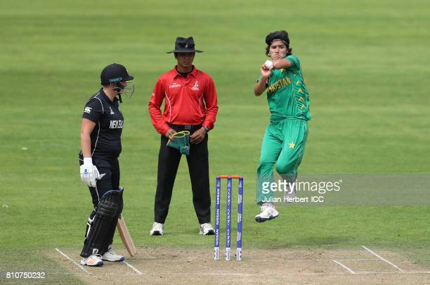Diana Baig of Pakistan bowls during The ICC Women's World Cup 2017 match between New Zealand and Pakistan at The County Ground on July 8 2017 in...