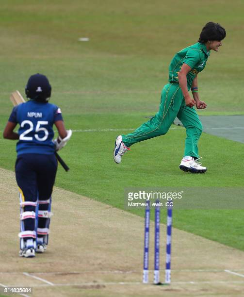 Diana Baig of pakistan celebrates bowling Nipuni Hansika of Sri Lanka during the ICC Women's World Cup 2017 match between Pakistan and Sri Lanka at...