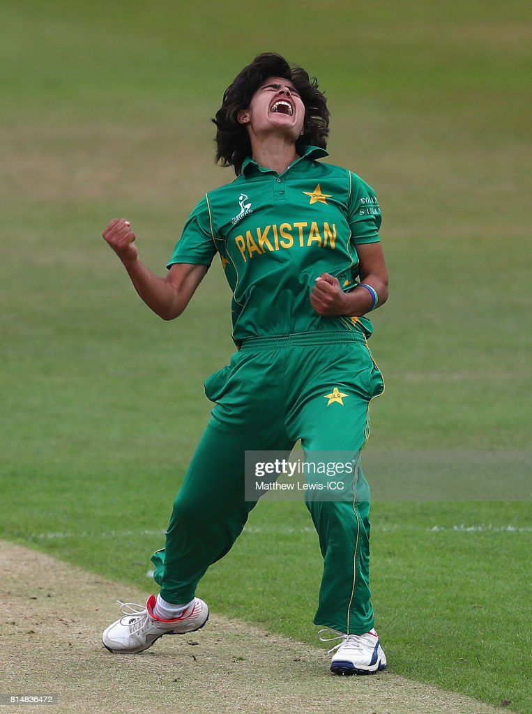Diana Baig of pakistan celebrates the wicket of Hasini Perera of Sri Lanka, after she was caught by Sidra Nawaz during the ICC Women's World Cup 2017 match between Pakistan and Sri Lanka at Grace Road on July 15, 2017 in Leicester, England.