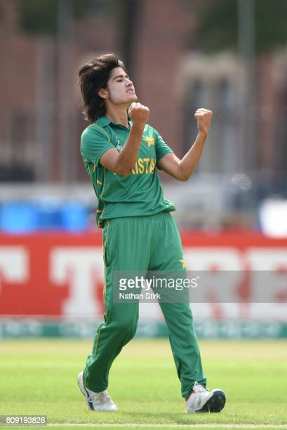 Diana Baig of Pakistan celiberates after getting a wicket during the ICC Women's World Cup 2017 match between Pakistan and Australia at Grace Road on...