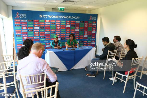 Diana Baig of Pakistan during a press conference following the ICC Women's World Cup match between India and Pakistan at The 3aaa County Ground on...