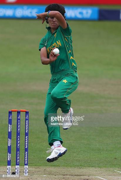 Diana Baig of Pakistan in action during the ICC Women's World Cup 2017 match between Pakistan and Sri Lanka at Grace Road on July 15 2017 in...
