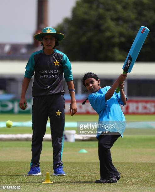 Diana Baig of Pakistan in action with local school children during the ICC Cricket for Good clinic at Grace Road on July 13 2017 in Leicester England