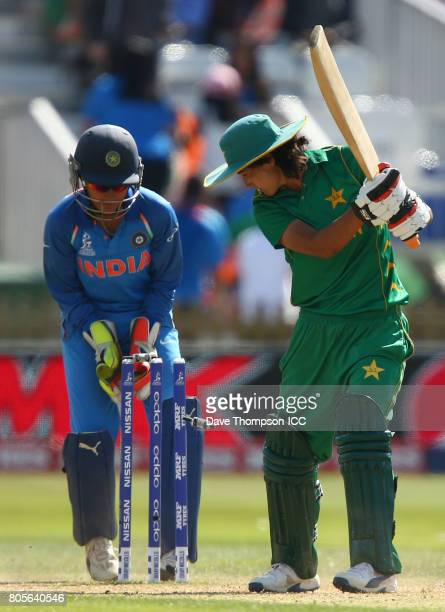 Diana Baig of Pakistan is bowled out by Ekta Bisht of India during the ICC Women's World Cup match between India and Pakistan at The 3aaa County...