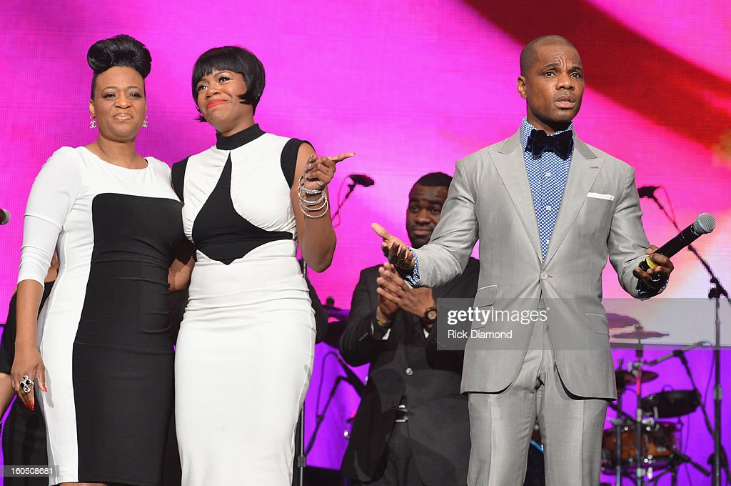 Diana Barrino Barber, American Idol winner and Grammy-nominated artist Fantasia and host Kirk Franklin speak onstage at the Super Bowl Gospel 2013 Show at UNO Lakefront Arena on February 1, 2013 in New Orleans, Louisiana.