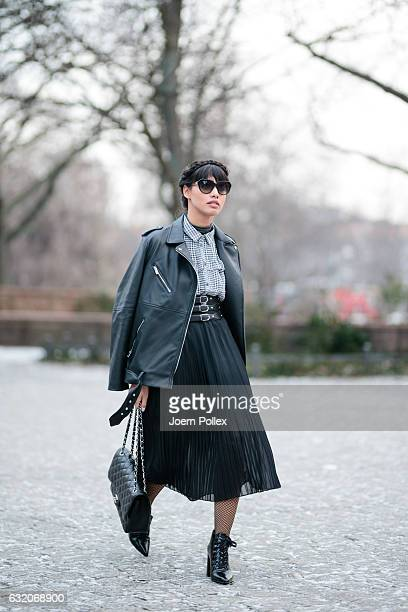Diana Buenger aka The Fashion Anarchy poses for photos during the MercedesBenz Fashion Week Berlin A/W 2017 at Kaufhaus Jandorf on January 19 2017 in...