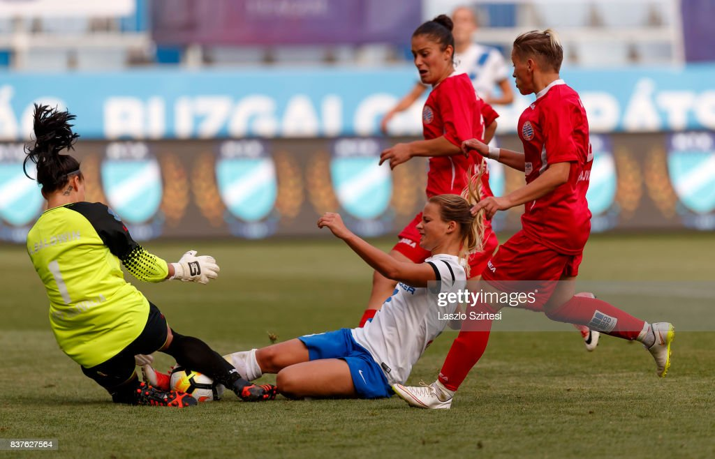 Diana Csanyi (L2) of MTK Hungaria FC fights for the ball with Audrey Baldwin #1 of WFC Hajvalia among Arbenita Curraj (R2) of WFC Hajvalia and Donjeta Haxha (R) of WFC Hajvalia during the UEFA Women's Champions League Qualifying match between MTK Hungaria FC and WFC Hajvalia at Nandor Hidegkuti Stadium on August 22, 2017 in Budapest, Hungary.