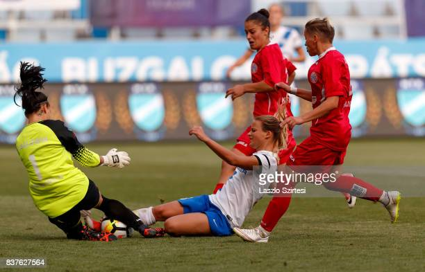 Diana Csanyi of MTK Hungaria FC fights for the ball with Audrey Baldwin of WFC Hajvalia among Arbenita Curraj of WFC Hajvalia and Donjeta Haxha of...