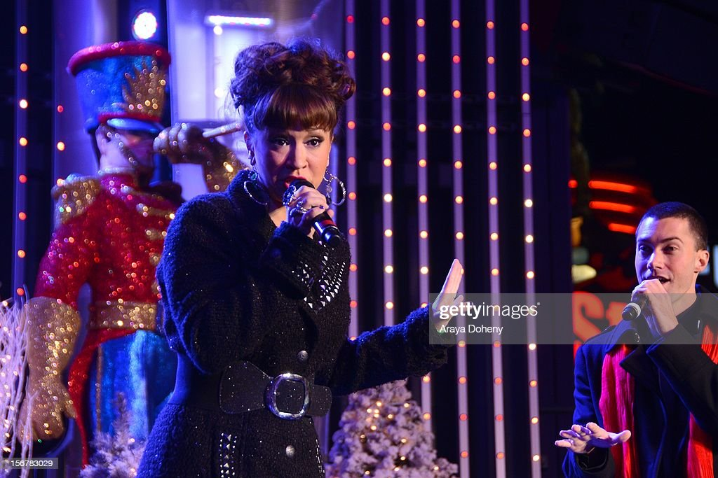 Diana DeGarmo and Ace Young perform at the 2012 Hollywood Christmas Parade Concert at Universal CityWalk on November 20, 2012 in Universal City, California.