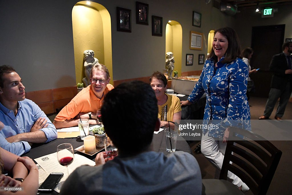 Diana DeGette chats with supporters during a results-watching party at Ale House at Amato's June 28, 2016. Chuck Norris called DeGette to concede.