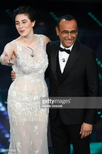 Diana Del Bufalo and Carlo Conti attend the closing night of 67th Sanremo Festival 2017 at Teatro Ariston on February 11 2017 in Sanremo Italy