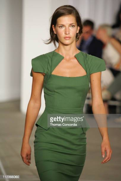 Diana Dondoe wearing Roland Mouret Spring 2006 during Olympus Fashion Week Spring 2006 Roland Mouret Runway at To Be Determined in New York City New...