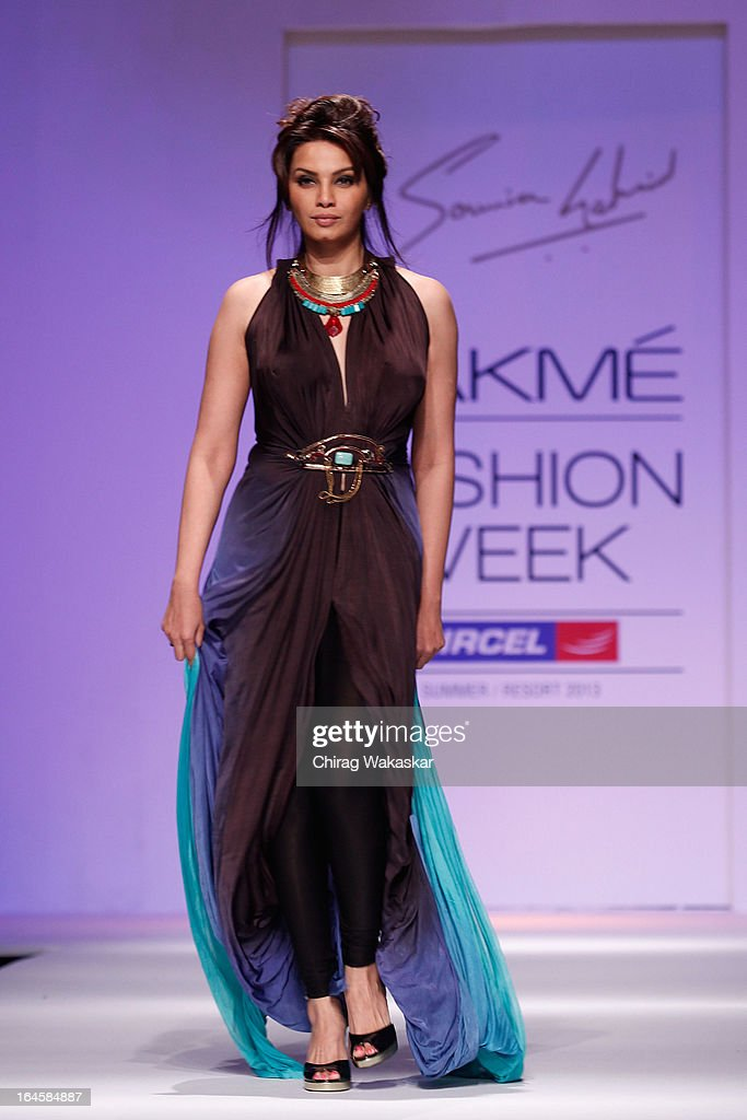 Diana Hayden showcases designs by Sounia Gohil on the runway during day three of Lakme Fashion Week Summer/Resort 2013 on March 24, 2013 at Grand Hyatt in Mumbai, India.
