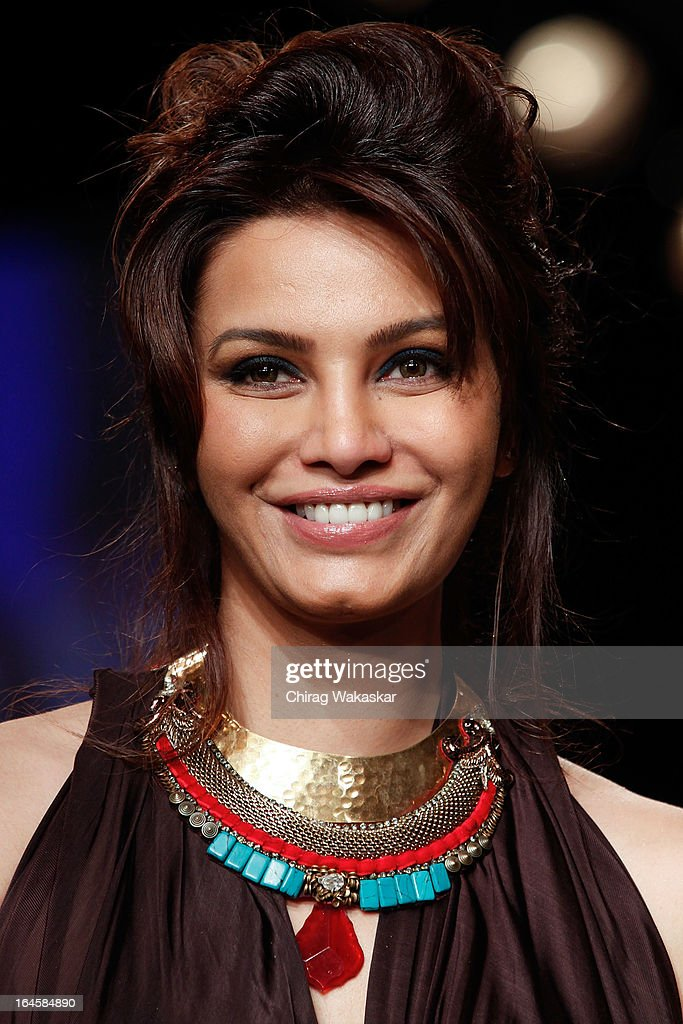 Diana Hayden showcases designs by Sounia Gohil on the runway during day three of Lakme Fashion Week Summer/Resort 2013 on March 24 2013 at Grand...