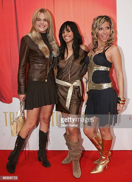 Diana Herold and German TV hostesses Collien Fernandes and Gulcan Karahanci arrive for the Tribute to Bambi Charity Gala at the Postkantine on...