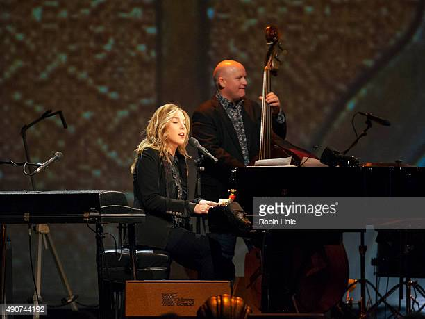 Diana Krall and Dennis Crouch perform at Royal Albert Hall on September 30 2015 in London England