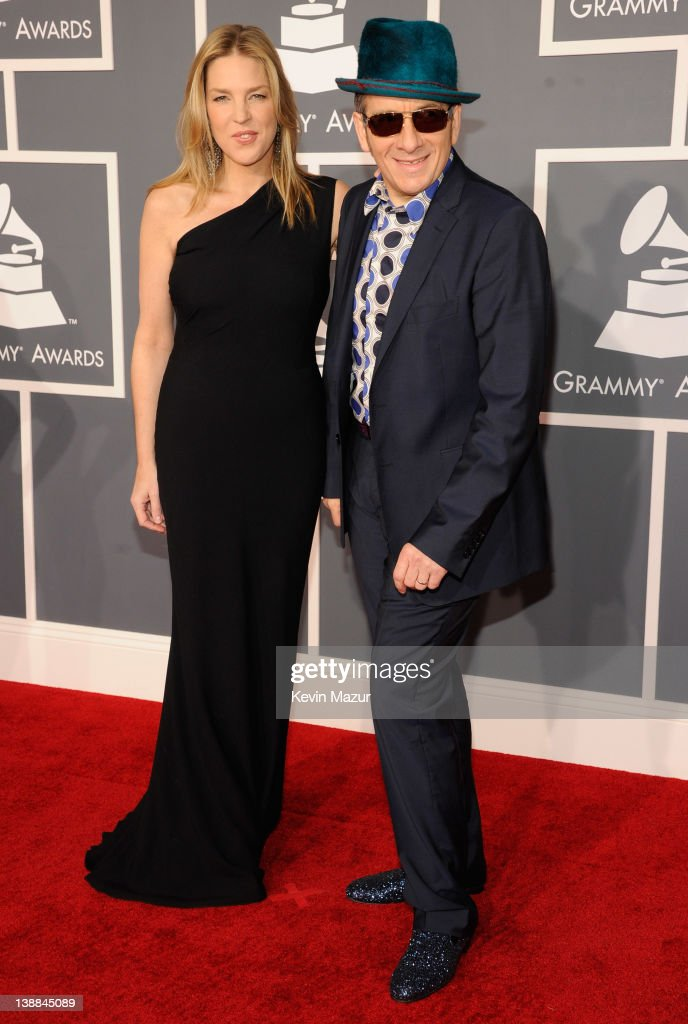 Diana Krall and Elvis Costello arrive at The 54th Annual GRAMMY Awards at Staples Center on February 12, 2012 in Los Angeles, California.