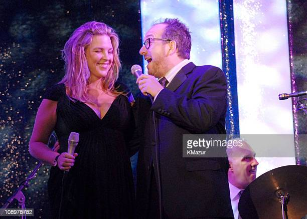 Diana Krall and Elvis Costello during Tony Bennett's 80th Birthday Party Inside in New York City New York United States