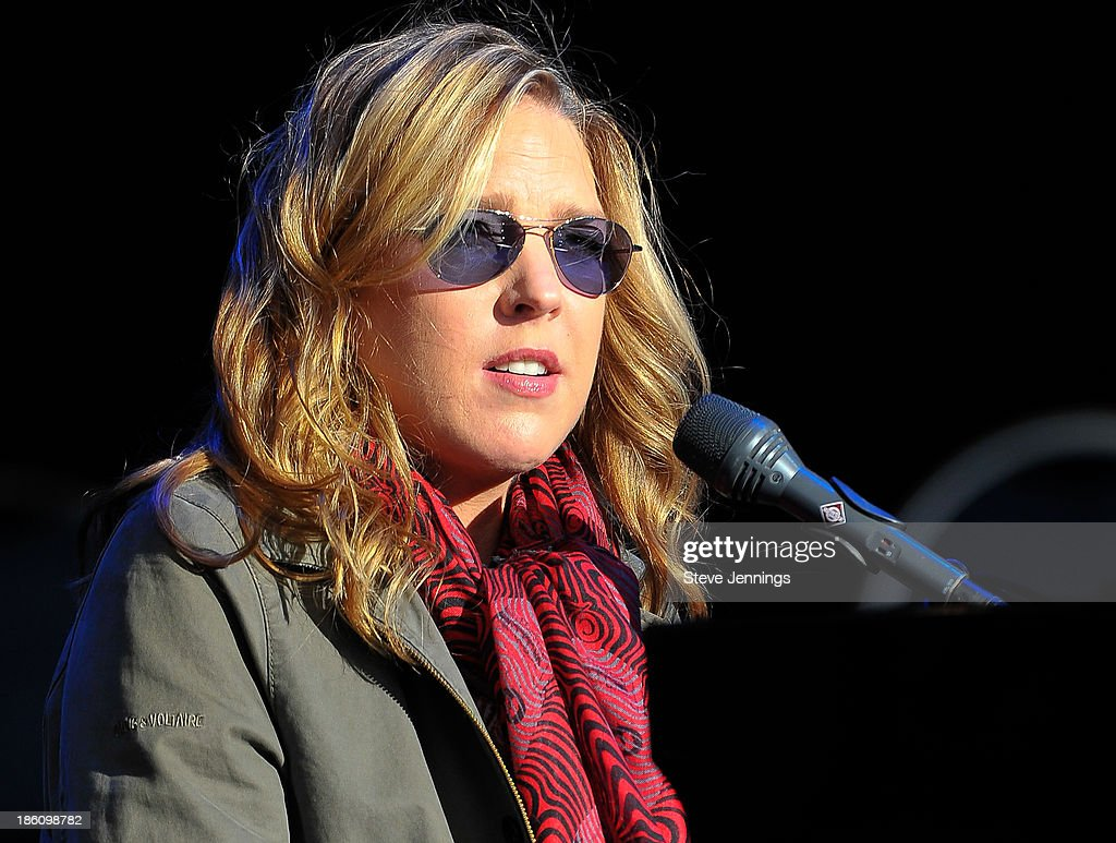 Diana Krall performs on Day 2 of the 27th Annual Bridge School Benefit concert at Shoreline Amphitheatre on October 27, 2013 in Mountain View, California.