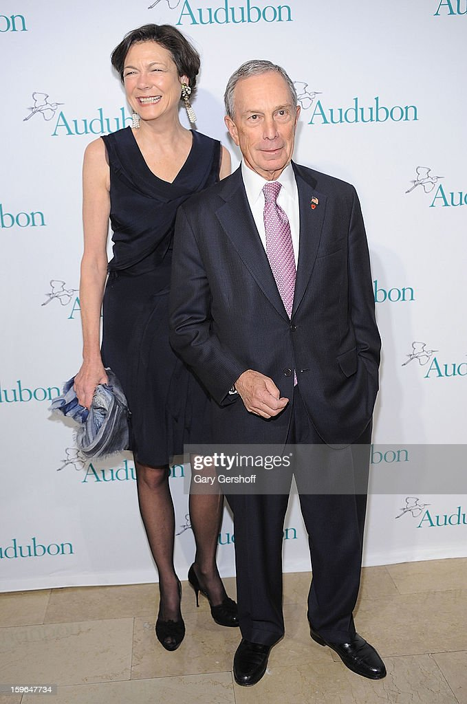 Diana L. Taylor (L) and New York City mayor Michael R. Bloomberg attend the 2013 National Audubon Society Gala Dinner at The Plaza Hotel on January 17, 2013 in New York City.