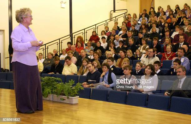 Diana Lamplugh talks to parents and pupils at Cleves School in WaltononThames Surrey Diana has joined the parents of murdered teenager Milly Dowler...