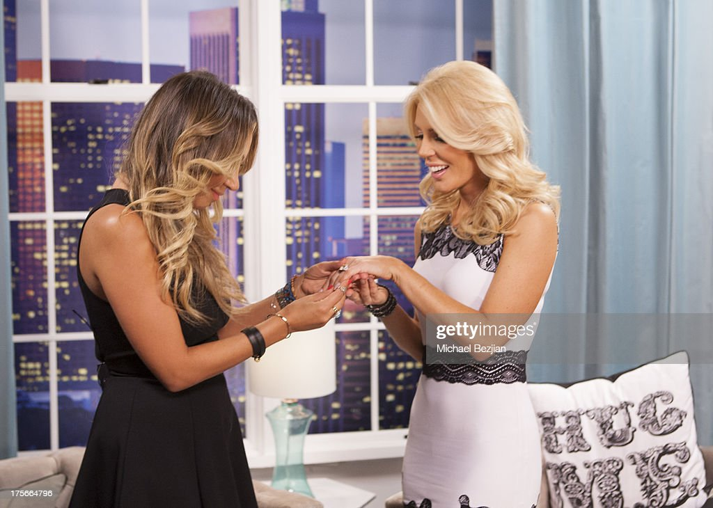 Diana Madison and <a gi-track='captionPersonalityLinkClicked' href=/galleries/search?phrase=Gretchen+Rossi&family=editorial&specificpeople=5637804 ng-click='$event.stopPropagation()'>Gretchen Rossi</a> appear on Diana Madison's 'AOL LOWDOWN' on August 5, 2013 in Hollywood, California.