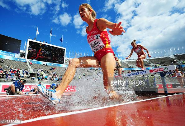 Diana Martin of Spain competes in the Women's 3000 metres Steeplechase Semi Finals during day two of the 21st European Athletics Championships at the...