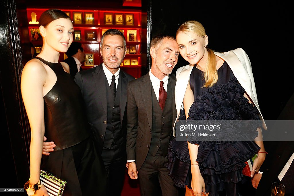 Diana Moldovan, Dan Caten, Dean Caten and Snejana Onopka attend the Dsquared2 20th Anniversary Celebration on May 26, 2015 in Paris, France.