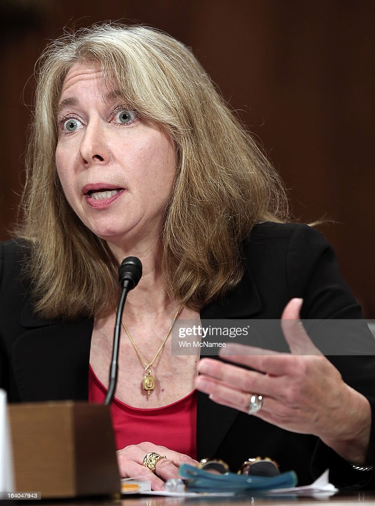 Diana Moss, director and vice president of the American Antitrust Institute testifies during a hearing of the Senate Judiciary Committee on Capitol Hill March 19, 2013 in Washington, DC. Moss testified before the committee on the topic of 'The American Airlines/US Airways Merger: Consolidation, Competition, and Consumers.'