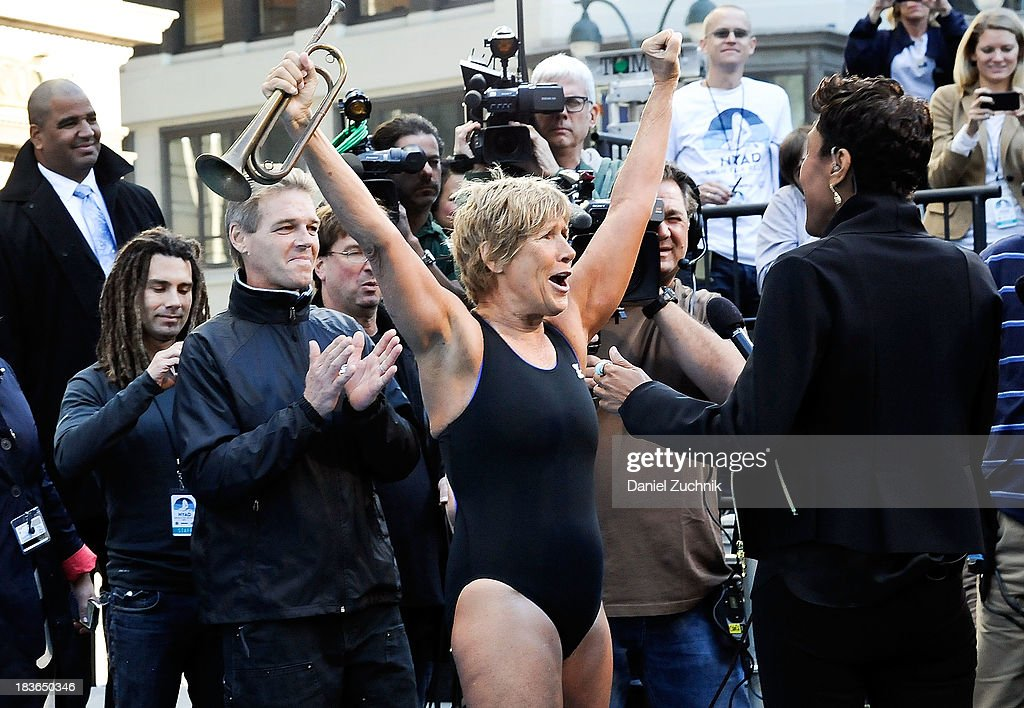 Diana Nyad and ABC's Good Morning America anchor Robin Roberts attend the 'Swim for Relief' benefiting Hurricane Sandy Recovery at Herald Square on...