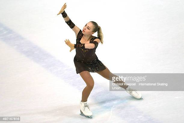 Diana Pervushkina of Russia skates during the junior ladies free skating of the ISU Junior Grand Prix at Dom Sportova on October 10 2015 in Zagreb...