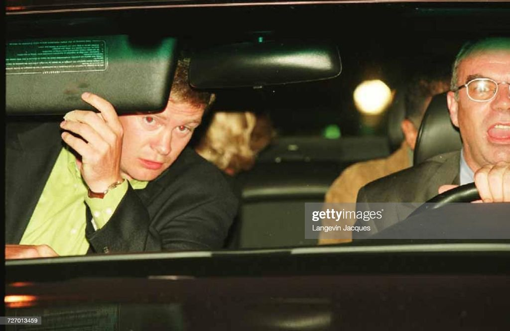 Diana, Princess of Wales and Dodi Fayed (both partially visible in back seat), bodyguard Trevor Rees-Jones (front, left) and driver Henri Paul, in their Mercedes-Benz S280, shortly before the fatal crash which killed Diana, Fayed and Paul, Paris, 31st August 1997. Jacques Langevin's photo was presented as part of the evidence at the Scott Baker Inquest into the crash, in which the jury found that Diana and Dodi had been unlawfully killed because of the reckless driving of Henri Paul and the pursuing paparazzi.