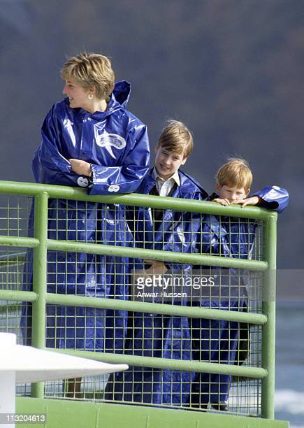 Diana Princess of Wales Prince William and Prince Harry wear waterproof capes as they visit the Niagra Falls on October 28 1991 in Canada