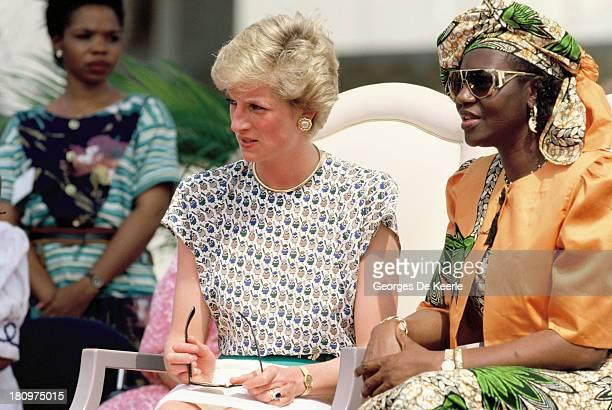 Diana Princess of Wales and Maryam Babangida the wife of former Nigerian president General Ibrahim Badamasi Babangida attend the Rural Women's Fair...
