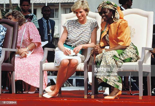 Diana Princess of Wales and Maryam Babangida the wife of the former Nigerian president General Ibrahim Badamasi Babangida attend the Rural Women's...