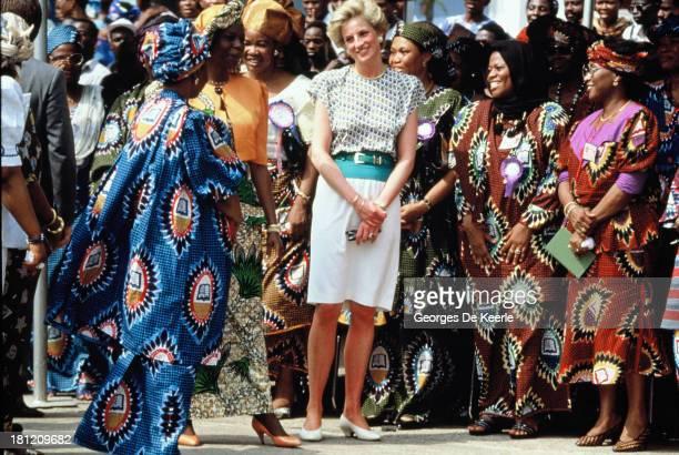 Diana Princess of Wales and Maryam Babangida the wife of the Nigerian president General Ibrahim Badamasi Babangida attend the Rural Women's Fair in...