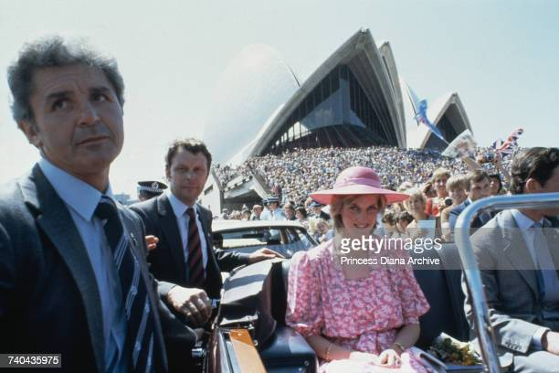 Diana Princess of Wales and Prince Charles arriving at Sydney Opera House during the royal tour of Australia 28th March 1983 The princess is wearing...