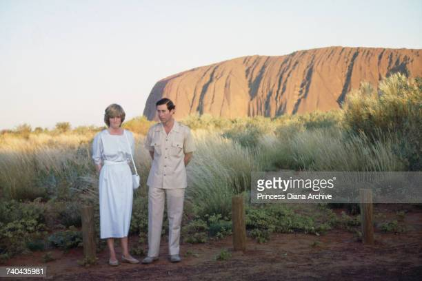 Diana Princess of Wales and Prince Charles pose in front of Uluru/Ayers Rock near Alice Springs Australia during the Royal Tour of Australia 21st...