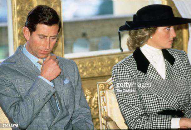 Diana Princess of Wales and Prince Charles Prince of Wales during a visit to Munich in Germany Diana wears an outfit designed by fashion designer...