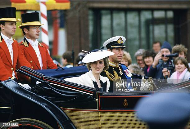 Diana Princess of Wales and Prince Charles Prince of Wales in the carriage procession at Windsor Castle