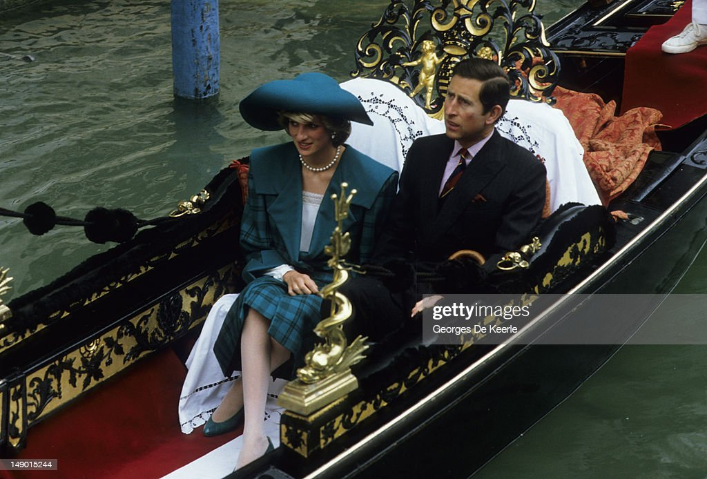 Diana, Princess of Wales and Prince Charles travel by a gondola along the Grand Canal on May 5, 1985 in Venice, Italy during the Royal Tour of Italy