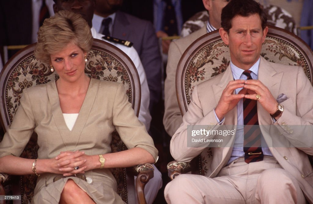 Diana Princess of Wales and <a gi-track='captionPersonalityLinkClicked' href=/galleries/search?phrase=Prince+Charles&family=editorial&specificpeople=160180 ng-click='$event.stopPropagation()'>Prince Charles</a> watch a dancing display on March 22, 1990, in Bamenda, Cameroon during the Royal Tour of Cameroon.