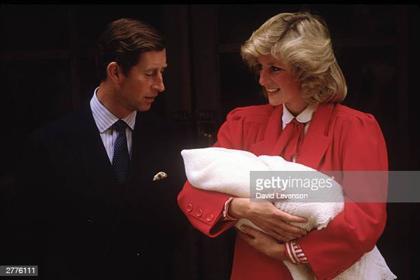 Diana Princess of Wales and Prince Charles with new born Prince Harry leave StMary's Hospital on September 16 1984 in Paddington London Diana wore an...