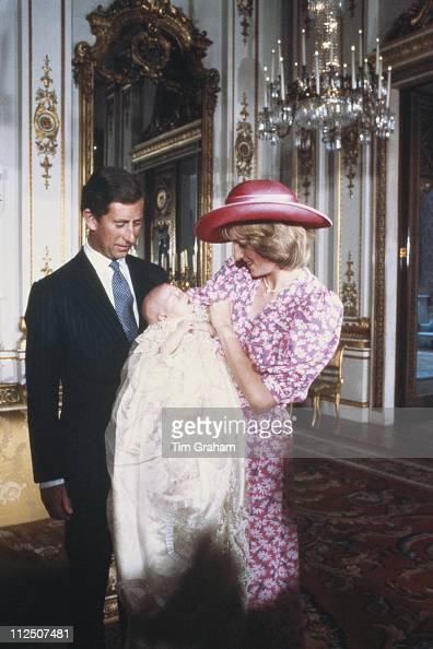 Diana Princess of Wales and Prince Charles with Prince William on the day of William's christening held in the music room of Buckingham Palace London...